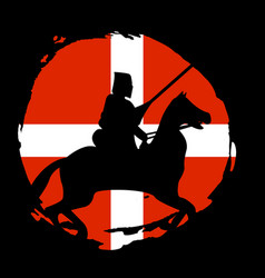 England knight warrior silhouette on black vector