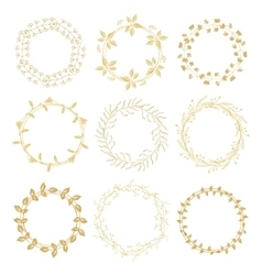 Hand drawn gold floral wreaths vector image vector image