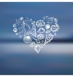 Heart of sea shells summer holidays vector