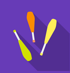 Juggling clubs icon in flat style isolated on vector