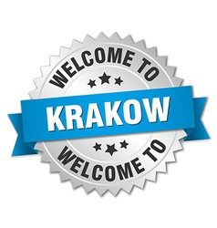 Krakow 3d silver badge with blue ribbon vector