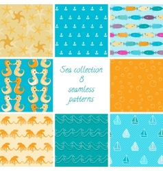 Marine patterns collection 1 vector