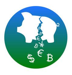Pig money bank sign white icon in bluish vector