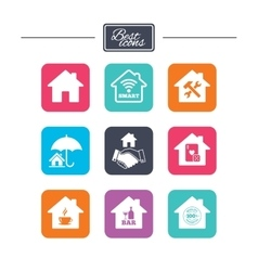 Real estate icons house insurance sign vector