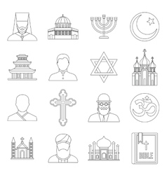 Religious symbol icons set outline style vector