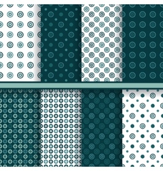 Set of circle round seamless patterns vector image vector image