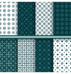 Set of circle round seamless patterns vector image