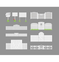 Set of white fences vector