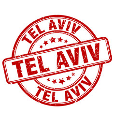 Tel aviv red grunge round vintage rubber stamp vector