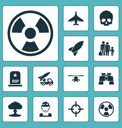 warfare icons set collection of rip missile vector image vector image