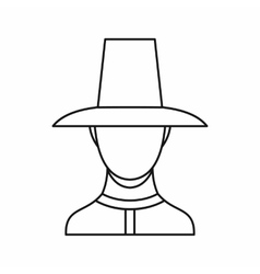 Korean soldier in uniform icon outline style vector