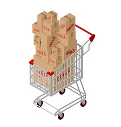 Shopping cart and box sale isometric shopping at vector
