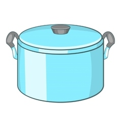 Pot with lid icon cartoon style vector