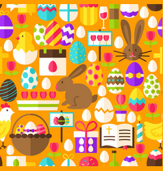 Orange easter seamless pattern vector