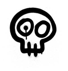 Graffiti emoji skull sprayed in black on white vector