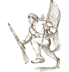 American revolutionary carrying flag vector