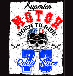 Skull t shirt graphic design motorcycle club vector