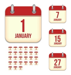 January calendar icons vector