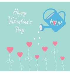 Water can and flowers Happy Valentines Day vector image