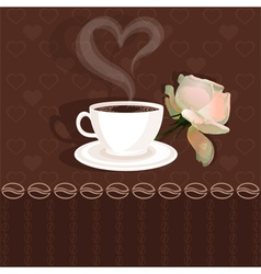 Coffee cup and flower rose vector