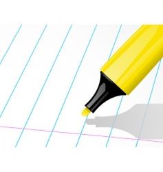 Highligher pen and ruled paper vector