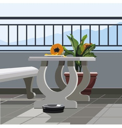 Interior balcony table with fruit papaya and vector image