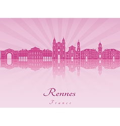 Rennes skyline in purple radiant orchid vector image