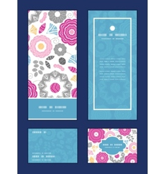 Vibrant floral scaterred vertical frame pattern vector