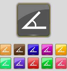 Angle 45 degrees icon sign set with eleven colored vector