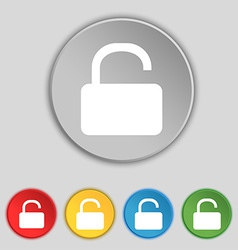 Open padlock icon sign symbol on five flat buttons vector