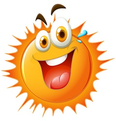 Bright sun with happy face vector