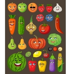 Big set of fruit and vegetables with persons and vector