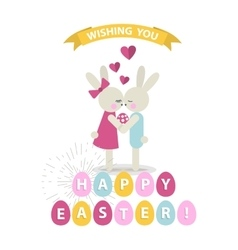 Happy easter bunnies vector
