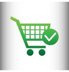 Shopping cart and check mark icon vector