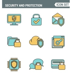 Icons line set premium quality of cyber security vector