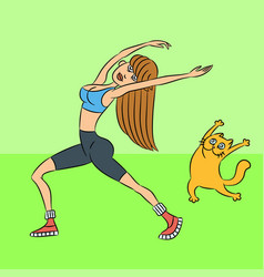 Aerobics with cat vector