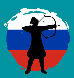 Archer warrior silhouette russia flag background vector