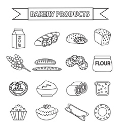 Bakery products icon set line outline doodle vector