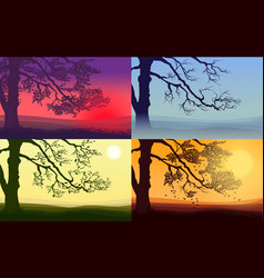 beautiful colorful trees set vector image vector image