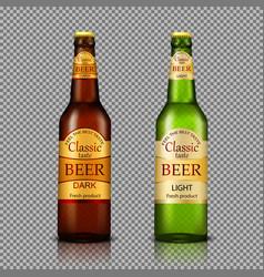 branded bottles of beer realistic vector image vector image