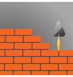 bricks and trowel 02 vector image