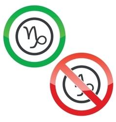 Capricorn permission signs vector