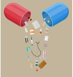 capsule with different pills and medical devices vector image vector image