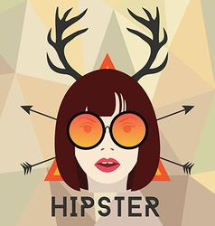 Cool hipster girl with glasses vector image