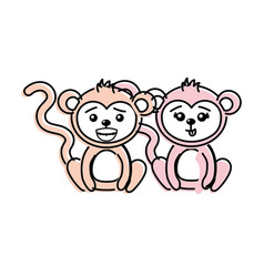 cute couple monkey wild animal with beautiful vector image vector image