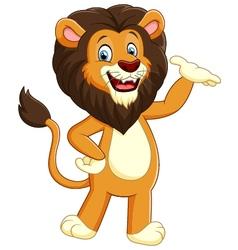 Happy carton lion posing vector image vector image