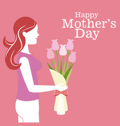 Happy mothers day - mother bouquet flowers vector