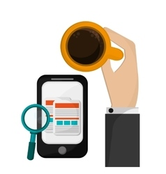 Holding cup coffee mobile phone search vector