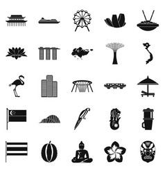 Holidays in asia icons set simple style vector
