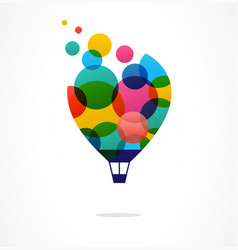 Hot air balloon with colorful happy icon logo vector